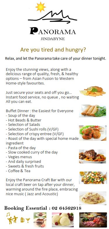 Panorama Jndabyne Buffet Dinner List Image